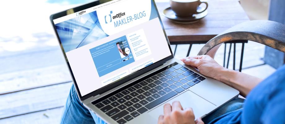 onOffice Blog auf Laptop